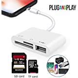 3 in 1 SD/TF Card Reader Adapter, USB 2.0 Female OTG Adapter Cable for iPhone and iPad,Trail Game Camera SD Card Reader No App Required, Plug and Play (White)