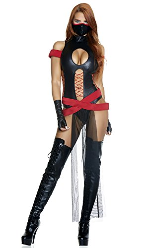 Forplay Women's Slay All Day Sexy Ninja Costume, Black, S/M]()