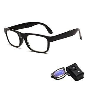 Doober Foldable Unisex Reading Glasses Presbyopic Eyeglasses Full Frame +1.0 To +4.0 (black, 4.0)