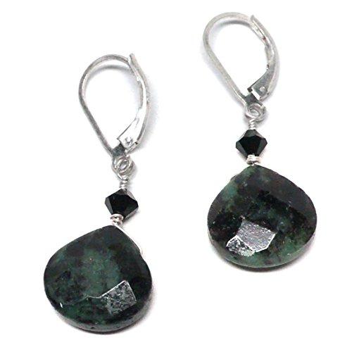Ruby Briolette Earrings - Ruby in Zoisite Briolette Lever Back Earrings Swarovski Crystal Sterling Silver