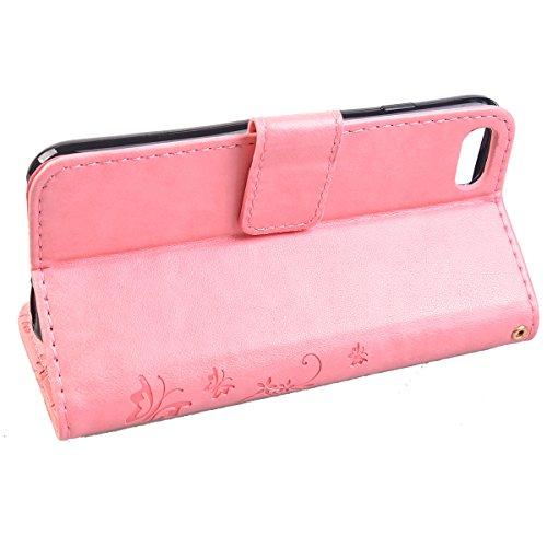 COOLKE etro Mariposas Patrón PU Leather Wallet With Card Pouch Stand de protección Funda Carcasa Cuero Tapa Case Cover para Apple iPhone 7 - Hot Rosa Rosa
