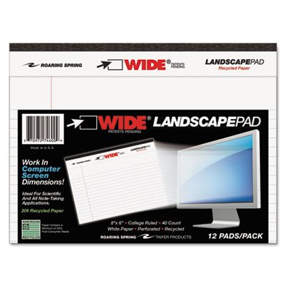 WIDE Landscape Format Writing Pad, 8 x 6, White, 40 Sheets, 1/Pad, Sold as 1 Pad, 40 Sheet per Pad by Roaring Spring