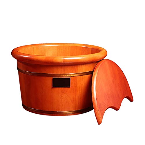 ZUOANCHEN Foot Tub,Home Solid Oak Wood Acupuncture Points Massage Foot Basin Foot Spa Wooden Tub With Cover Foot Bath Soaking Tub (Bucket Bath Wood)