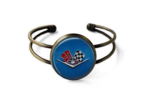 - Vintage Chevy Corvette Emblem Cuff Bracelet