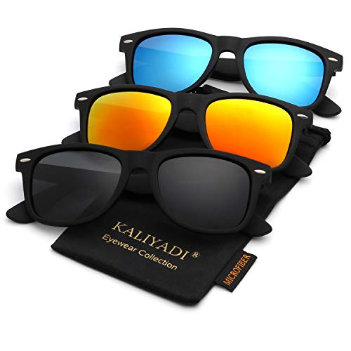 Unisex Polarized Sunglasses Stylish Sun Glasses for Men and Women | Color Mirror Lens | Multi Pack ()