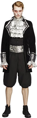 Smiffy's Men's Fever Male Baroque Vampire Costume, Jacket, pants, Cravat and Cummerbund, Halloween, Fever, Size M, (Cummerbund Costume)