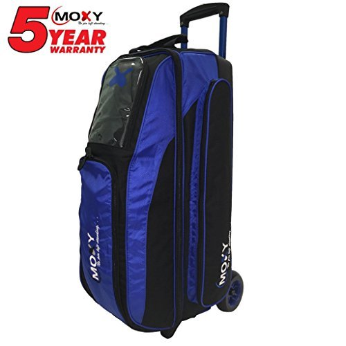 Moxy Blade Triple Roller Bowling Bag- Royal/Black by Moxy Bowling Products