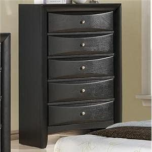 Roundhill Furniture Blemerey Wood 5-Drawer Chest, Black