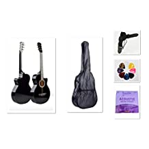 """New 38"""" Beginner Acoustic Guitar With Case, String, Strap, and Pick Multiple Colors (Black)"""