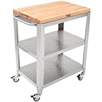 John Boos Culinarte Stainless Steel Kitchen Cart with 30 by 20 Inch Removable Maple Cutting Board Top, Stainless Steel Shelves and Casters