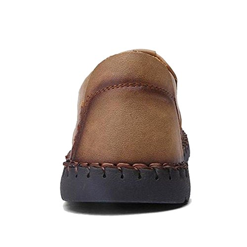 COOLCEPT Herren Bequeme Slip On Freizeit Flach Loafers Schuhe 22 Khaki