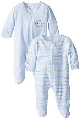Spasilk Baby-Boys 100% Cotton Newborn 2 Pack Sleepwear Footie Set, Blue Dino, 6 Months