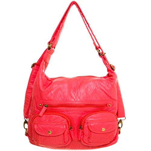 Bag Pink Leather Soft Purse Salmon Backpack Both Vegan Convertible and Shoulder in R4qgxOX