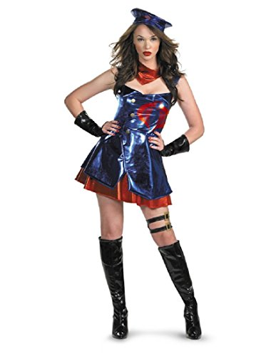 Disguise Unisex Adult Deluxe Gi Joe Sassy Cobra, Blue/Red/Black, Small (4-6) Costume -