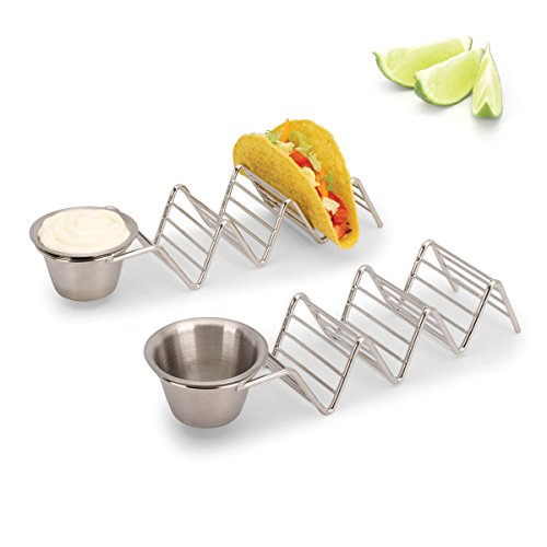 2 Lb. Depot Taco Shell Holder, Stainless Steel Taco Rack Hard Soft Taco's, 2 Pack (Holds 3 Tacos with Cup) by 2 Lb. Depot (Image #7)