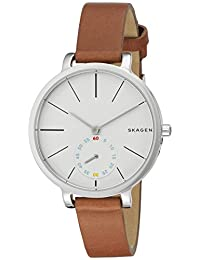 Skagen SKW2434 Reloj para Mujer Redondo, Análogo, color Blanco y Marrón