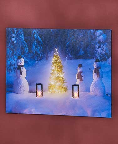 Snowmen Gathering (Lighted Winter Scene Canvas Wall Art ( Snowmen Gathering ))