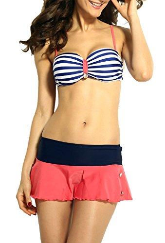Zkess Women's Summer Sleeveless Retro Nautical Style Bikini Swimwear Medium Size Multicoloured