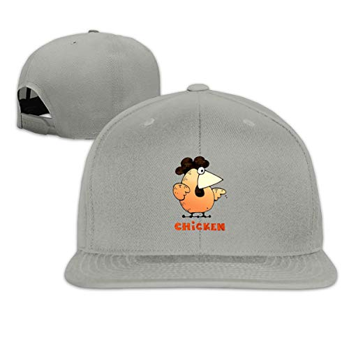 Aiguan Chicken Flat Visor Baseball Cap, Fashion Snapback Hat Gray