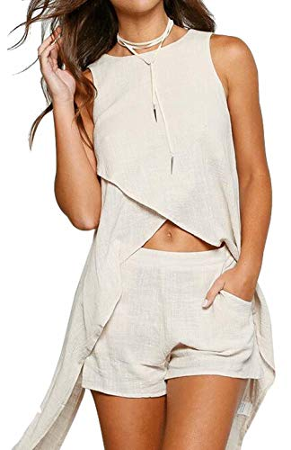 - Two Piece Outfit for Women Crop Top and Short Pants Set Two Piece Romper Set Short Jumpsuit with Pocket Size XL(US 10) (Beige)