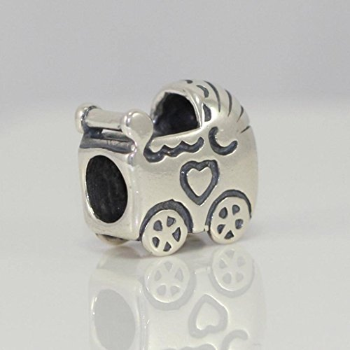Price comparison product image Sterling Silver Baby Stroller Charm Bead for European Charm Bracelets EC118