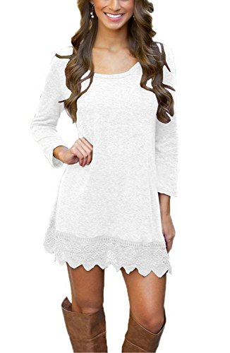 MiYang Women's Long Sleeve A-line Lace Stitching Trim Casual Dress XS White