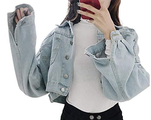 Sciolto Cappotto Manica Festa Blau Autunno Elegante Outerwear Fashion Giaccone Giacche Hipster Ragazze Jeans Hell Style Puro Con Multi Lunga Colore Corto Bello Button tasca Donna Allentato Primaverile z0wtTptAq