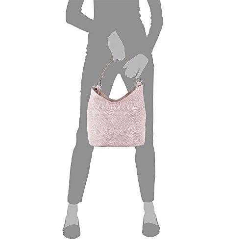 Cuero Italiana 32x26x18 De Cm Italy Artegiani Rosa Color Pelle Genuino Vera Piel Mujer Auténtica bolso In bolso Tote Grabado Made Firenze Geométrico pS8TwqUByq