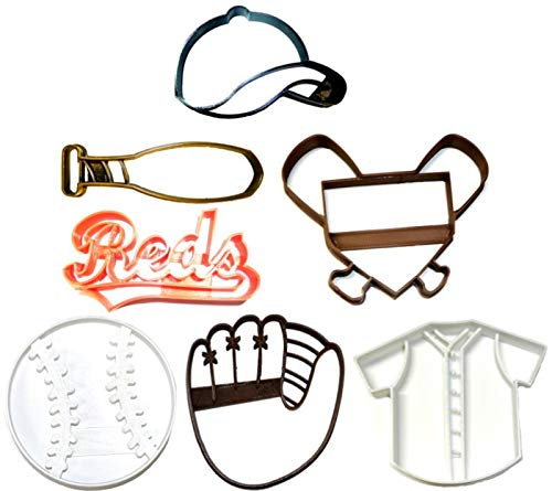 - CINCINNATI REDS MLB TEAM LOGO BASEBALL MITT CAP BAT JERSEY HOME PLATE AMERICAN BALL SET OF 7 SPECIAL OCCASION COOKIE CUTTER BAKING TOOL 3D PRINTED MADE IN USA PR1235
