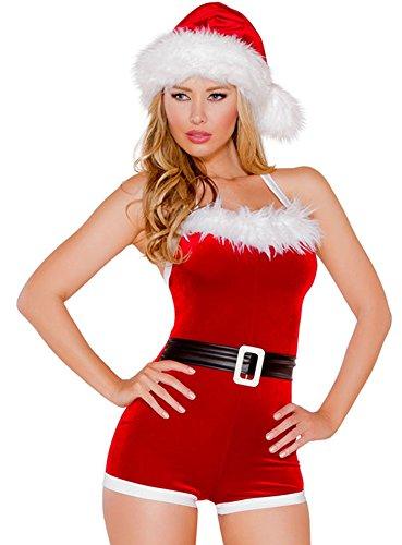 Costumes Santas Christmas Santas Helper Inspiration (Oncefirst Women's 3 Piece Christmas Hat Calf Sleeve Jumpsuits Costume)