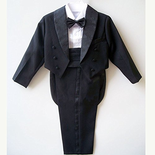 GSCH Boys' 5 Pcs Set Formal Classic Tuxedo Suit With Tail Black Jacket Shirt Vest Pants and Bowtie (3T, Black)