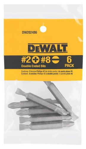2 Double End Screw Bit (DEWALT DW2024B6 No. 2 Phillips/No. 8 Slotted Double Ended Bit, 6-Pack)