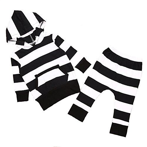 Newborn Baby Hoodies Black White Stripes Top Shirt Long Pants Clothing Set (90(12-18 months))