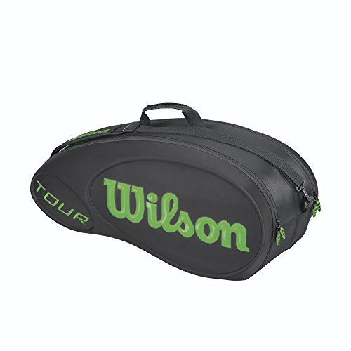 Wilson Tour Molded Racquet Bag (6-Pack), Black/Lime