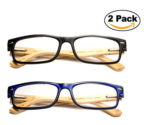 Newbee Fashion - Unisex Translucent Simple Design No Logo Clear Lens Glasses Squared Fashion Frames 2 Pack Black Bamboo, Blue Bamboo