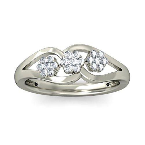 18K Or Blanc, 0.24carat Diamant Taille ronde (IJ | SI) en diamant