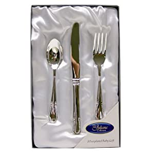 Silver Plated Cutlery Set New Baby Christening Gift For