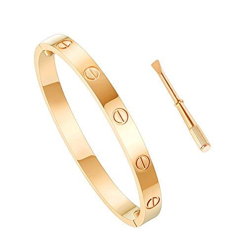 Jewelry Cartier Inspired (ILJILU Titanium Steel Bangle Bracelets for Women Bangle Bracelet Set in Heart and CZ Stone Jewelry Fits 6.5 Inch Wrists)