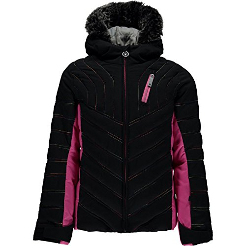 Spyder Ski Goggles - Spyder Girls Hottie Faux Fur Ski Jacket, Black/Raspberry, Size 08