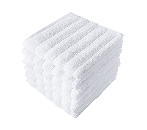 - Classic Turkish Towels 6 Piece Luxury Washcloth Towel Set - 13 x 13 Inch Soft and Thick Large Bath Towel Washcloths Made with 100% Turkish Cotton (White)