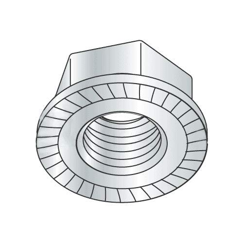 1/2''-13 Hex Flange Locknuts/Serrated/Case Hardended Steel/Zinc Plated (Quantity: 100)