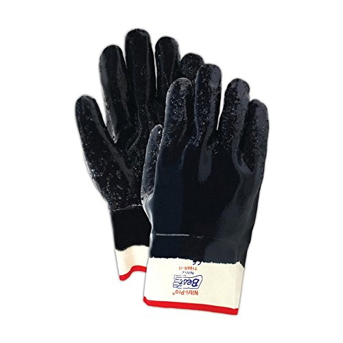 SHOWA 7166R-10 Fully Coated Nitrile Glove, Rough Grip, Cotton Jersey Liner, General Purpose Work, Reinforced Safety Cuff, Large (Pack of 12 Pairs)