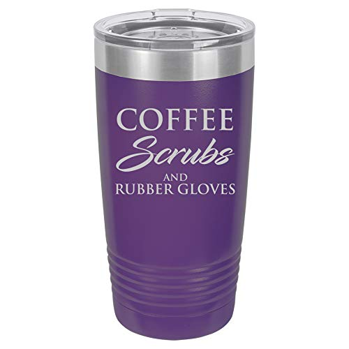 Tumbler Stainless Steel Vacuum Insulated Travel Mug Coffee Scrubs And Rubber Gloves Nurse Doctor Dentist Dental Assistant Therapist (Purple, 20 oz)