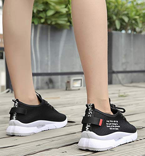 Vovotrade❤ Lace course Lettres Mme Femmes Sneakers ronde Mode Tête Chaussures Noir Casual Sport de Running Mesh Rf4Rw