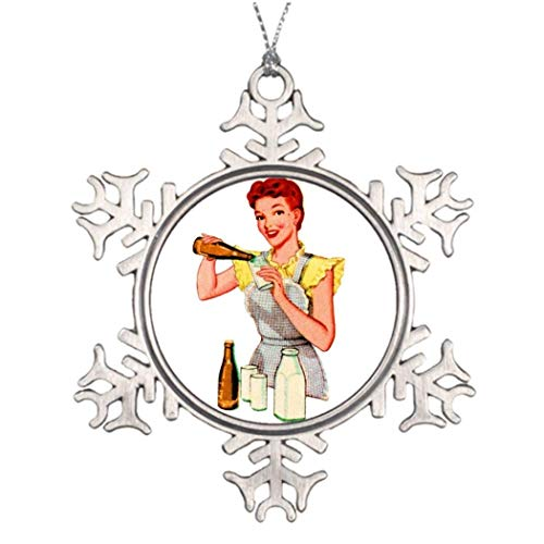 Vintage Retro Kitsch 50s Soda Root Beer and Milk Xmas Trees Decorated Photo Christmas Snowflake Ornament 545763