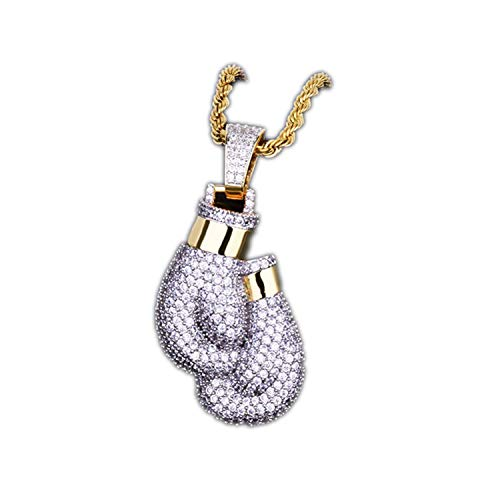 Boxing Gloves Pendant Necklace & Pendant Charm Rope Chain Gold Color Iced Cubic Zircon Men's Hip Hop Jewelry,Silver,30inch