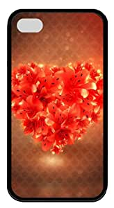 iphone 4 case spec Red Heart Flowers TPU Black for Apple iPhone 4/4S