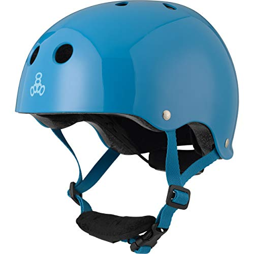 (Triple Eight Lil 8 Dual Certified Sweatsaver Kids Skateboard and Bike Helmet with Padded Chin Buckle, Blue Glossy)
