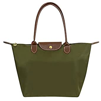 Wiwsi New Women Handbag Nylon Waterproof Top Handle Totes Foldable Shopping Bags(Small,Army Green)