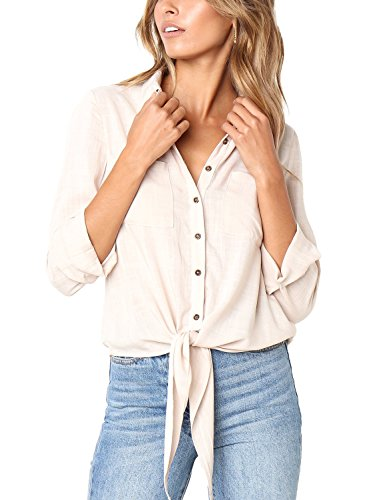 Lookbook Store Women's 3/4 Sleeve Button Up Solid Tie Front Pockets Blouse Shirt Top Apricot, Size M - Tuck Front Blouse
